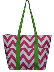 Pink & Green Chevron Insulated Travel Bag