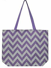 Large Light Purple Chevron Tote Bag