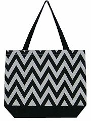 Large Black Chevron Tote Bag