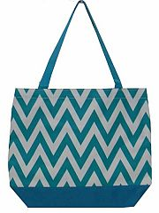 Large Turquoise Chevron Tote Bag