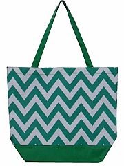 Large Green Chevron Tote Bag