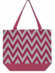 Large Pink Chevron Tote Bag