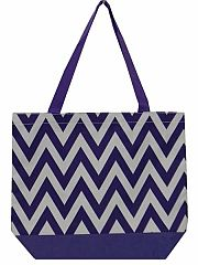 Large Purple Chevron Tote Bag