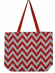 Large Red Chevron Tote Bag