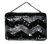 Black Chevron Sequin Cosmetic Case