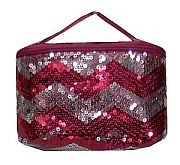 Hot Pink Chevron Sequin Cosmetic Case