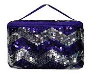 Purple Chevron Sequin Cosmetic Case