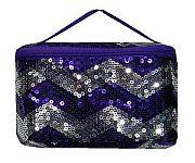 Purple Chevron Sequin Cosmetic Case