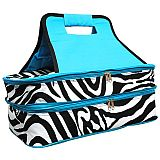 Blue Zebra Double Food Carrier      #MW-BlueZebraDouble