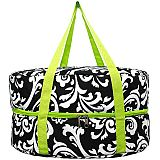 Green Damask Crock Pot Carrier       #MW-GreenDamaskCrock