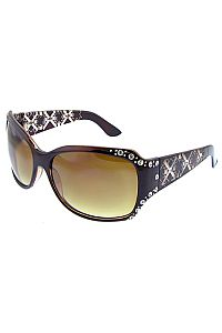 Brown Rhinestone XXX Design Sunglasses          #O-CAQ1-10990BR