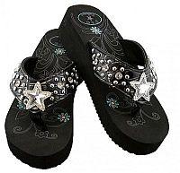 Black Rhinestone Star P & G Flip Flops            #PG-blackstar