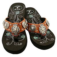 Brown Multiple Cross P & G Flip Flops            #PG-browncross2