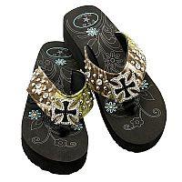 Camo Rhinestone Cross P & G Flip Flops         #PG-camocross