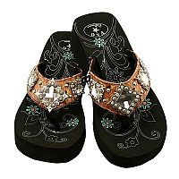 Light Brown Multiple Rhinestone Diamond P & G Flip Flops  #PG-diamondbrown