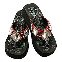 Red Multiple Rhinestone Diamonds P & G Flip Flops          # PG-reddiamond