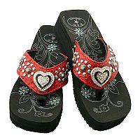 Red Rhinestone Heart P & G Flip Flops          #PG-redheart