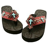 Red Turquoise Multiple Cross P & G Flip Flops         #PG-redturqcross