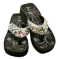 Multi Colored Rhinestone Star P & G Flip Flops                        #PG-turqstar