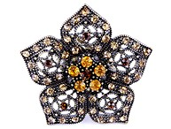 Brown Rhinestone Flower Ring