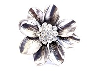 Rhinestone Silver Flower Ring