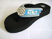 Isabella Turquoise Blue Flower Flip Flops                   #LGHS-BlueS002