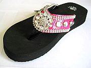 Isabella Hot Pink Flower Flip Flops              #WWD-pinkdaisyS002