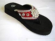 Isabella Red Flower Croc Flip Flops                            #LGHS-RedS002