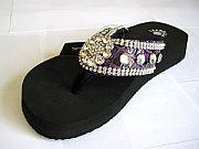 Isabella Purple Flower Flip Flops                      #LGHS-PurpleS002