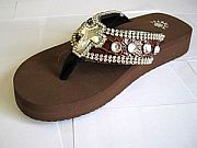 Isabella Brown Cross Flip Flops                     #LGHS-BrownCrossS006