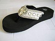 Isabella Pewter Cross Flip Flops                    #LGHS-PewterCrossS006