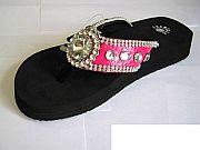 Isabella Hot Pink Round Rhinestone Flip Flops              #LGHS-PinkRoundS018