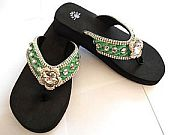 Isabella Emerald Green Large Flower Flip Flops                     #LGH-EmeraldS042
