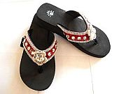 Isabella Red Large Rhinestone Flower Flip Flops                      #LGH-S042RED