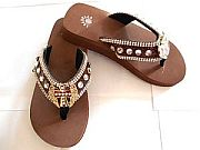 Isabella Brown Rhinestone Cross Wings Flip Flops         #LGH-S044BRCrossWings