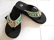 Isabella Green Rhinestone Cross Wings Flip Flop    #LGH-S044GreenCrossWings