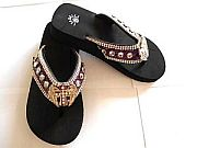 Isabella Purple Rhinestone Cross Wings Flip Flops   #LGH-S044PurpleCrossWings