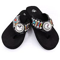 Isabella Black Multi Colored Aztec Round Gem Flip Flops          #LG-S062AZBK