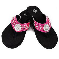 New Isabella Rhinestone Hot Pink Small Flower Flip Flops    LGH-S062PK