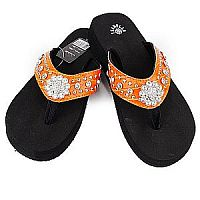 New Isabella Rhinestone Orange Small Flower Flip Flops    LGH-S062OR