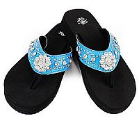 New Isabella Rhinestone Blue Small Flower Flip Flops    LGH-NEWS062BL
