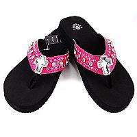 New Isabella Rhinestone Hot Pink Cross Flip Flops  #LGHW-S063HPK