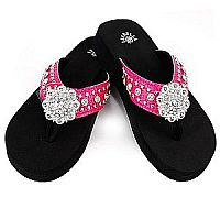 New Isabella Rhinestone Hot Pink Bling Flower Flip Flops    LGH-NEWS064PK