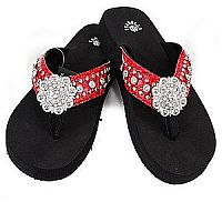 New Isabella Rhinestone Red Bling Flower Flip Flops    LGH-NEWS064RED