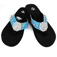 New Isabella Rhinestone Blue Bling Flower Flip Flops    LGH-NEWS064BL