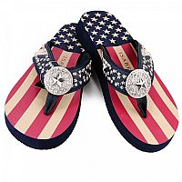 New Isabella Rhinestone USA Blue Star Flip Flops       #WW-S066USA