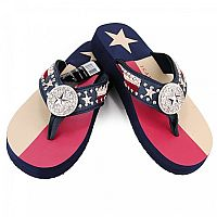 New Isabella Rhinestone USA Red White Blue Star Flip Flops       #WW-S067USA