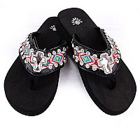 Isabella Red Turquoise Aztec Cross Flip Flops            LG-S073BK