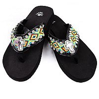 Isabella Multi Colored Aztec Cross Flip Flops    LG-S074BK
