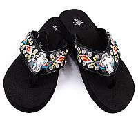 Isabella Black Multi Colored Aztec Cross Flip Flops            LG-S075BK